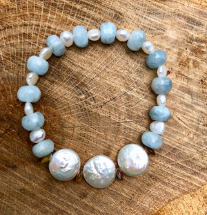 Pearl and Blue Chalcedony Crystal Bracelet