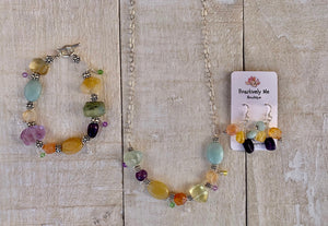 Amazonite, Fluorite, Carnelian, Honey Jade, and Amethyst Bracelet