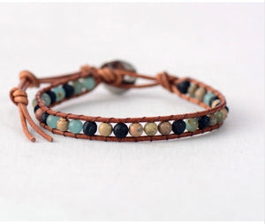 Amazonite, Jasper and Lava Stone Leather Bracelet