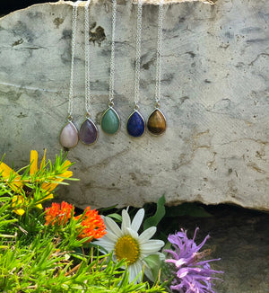 Natural Gemstone Drop Necklace