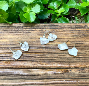 Clear Quartz Crystal Stud Earrings