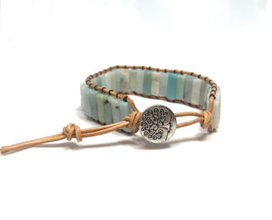 Amazonite Tree of Life Leather Bracelet