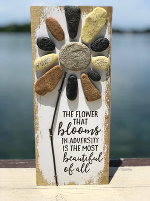 The Flower that Blooms in Adversity Pebble Art