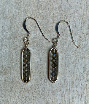Labradorite and Sterling Silver Oval Framed Earrings