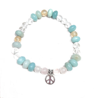 Amazonite, Citrine, Clear Quartz and Rose Quartz Peace Bracelet