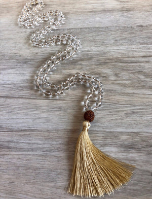 108 Mala Bead Clear Quartz Necklace