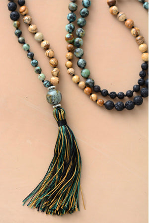 African Turquoise, Jasper and Lava 108 Bead Mala Necklace