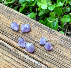 Amethyst Crystal Stud Earrings