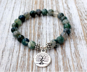 Moss Agate Tree of Life Bracelet