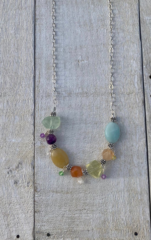 Amazonite, Fluorite, Carnelian, Honey Jade, and Amethyst Necklace