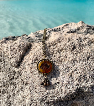 Lotus Flower and Agate Necklace