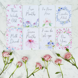Baby Watercolour Floral Milestone Cards