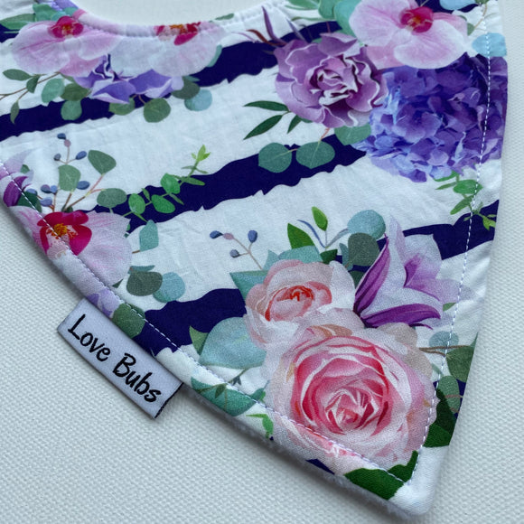 Floral Stripes Dribble Bib
