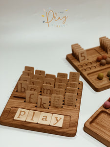 Three Wood Shop Alphabet Board with Letters