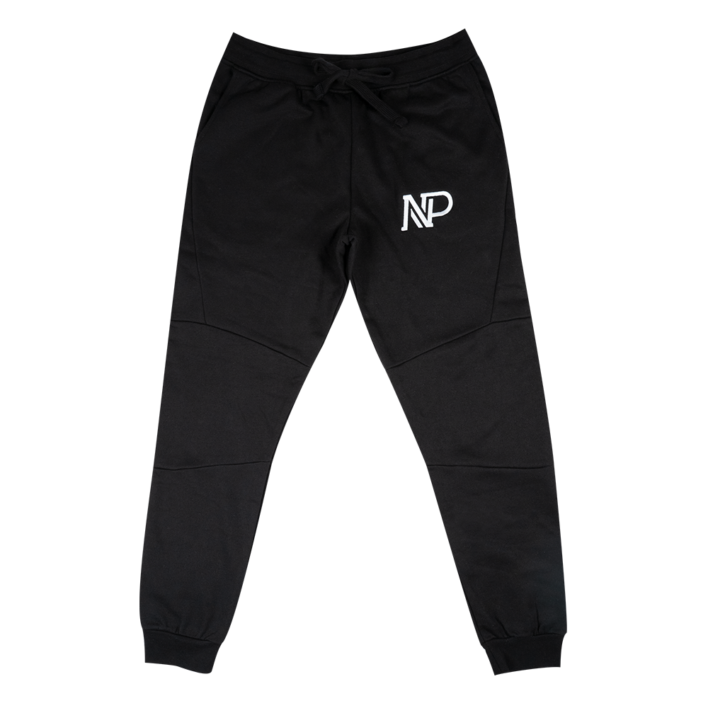 NP Embroidered Men's Panelled Jogger - Black