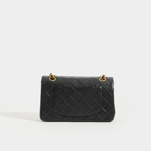 CHANEL Vintage Small Classic Double Flap Bag in Black Leather