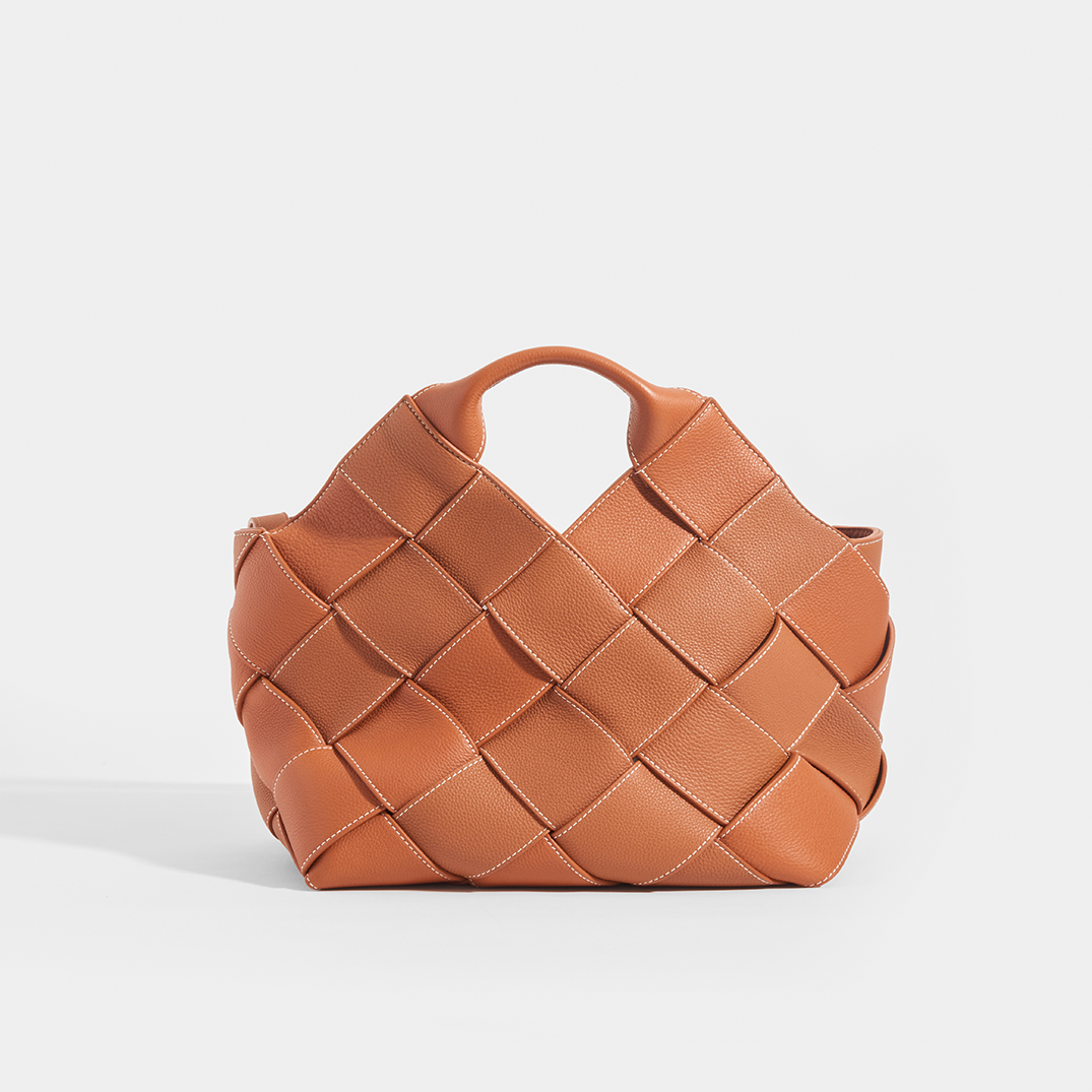LOEWE Woven Leather Texture Basket in tan leather