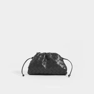 BOTTEGA VENETA The Pouch 20 Intrecciato Crossbody in Black Leather