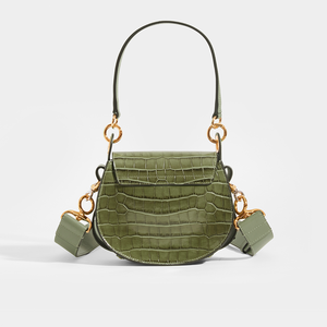 CHLOÉ Tess Small Mock Croc in Misty Forest