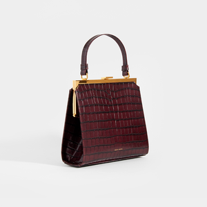 MANSUR GAVRIEL Elegant Croc-Effect Leather Frame Bag in Brown