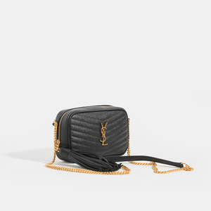 SAINT LAURENT Lou Small Quilted Crossbody in Black Leather