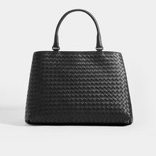 Load image into Gallery viewer, Front of BOTTEGA VENETA Intrecciato Top Handle Bag in Black leather