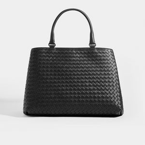 Front of BOTTEGA VENETA Intrecciato Top Handle Bag in Black leather