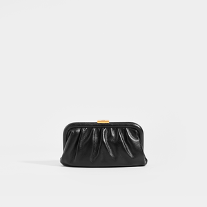 BALENCIAGA Cloud Small Printed Pouch with Strap in Black Leather