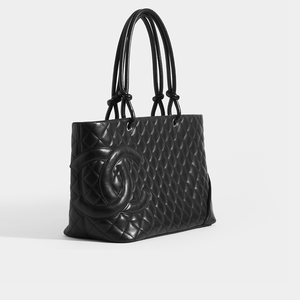 CHANEL Vintage Cambon Ligne Tote in Black Leather