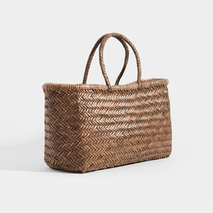 Side of DRAGON DIFFUSION Triple Jump Large Woven-Leather Tote in Light Brown