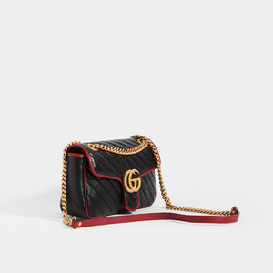 GUCCI GG Marmont Small Chevron Leather with Red Trim Shoulder Bag in Black