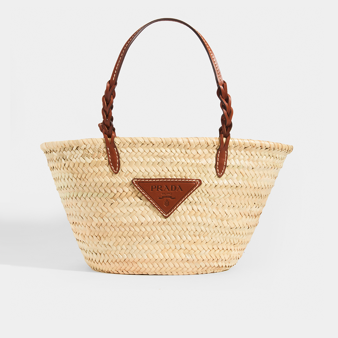 PRADA Natural Fibre and Leather Basket