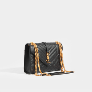 SAINT LAURENT Medium Quilted Textured-Leather Envelope Shoulder Bag in Black with Gold Hardware