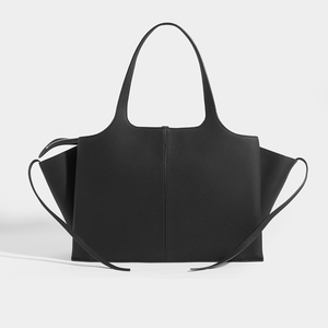 CELINE Medium Tote Bag in Black Grained Leather