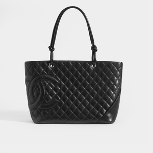 CHANEL Vintage Cambon Ligne Tote in Black Leather with Double C detailing