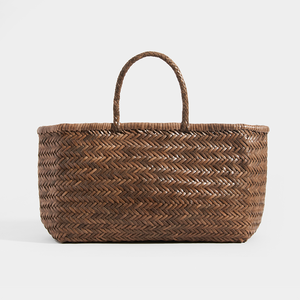 Back of DRAGON DIFFUSION Triple Jump Large Woven-Leather Tote in Light Brown
