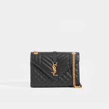 Load image into Gallery viewer, SAINT LAURENT Medium Quilted Textured-Leather Envelope Shoulder Bag in Black with Gold Hardware