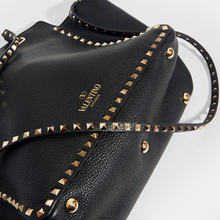Load image into Gallery viewer, VALENTINO Medium Garavani Rockstud Tote in Black Textured Leather