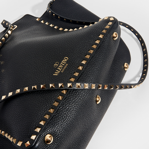 VALENTINO Medium Garavani Rockstud Tote in Black Textured Leather