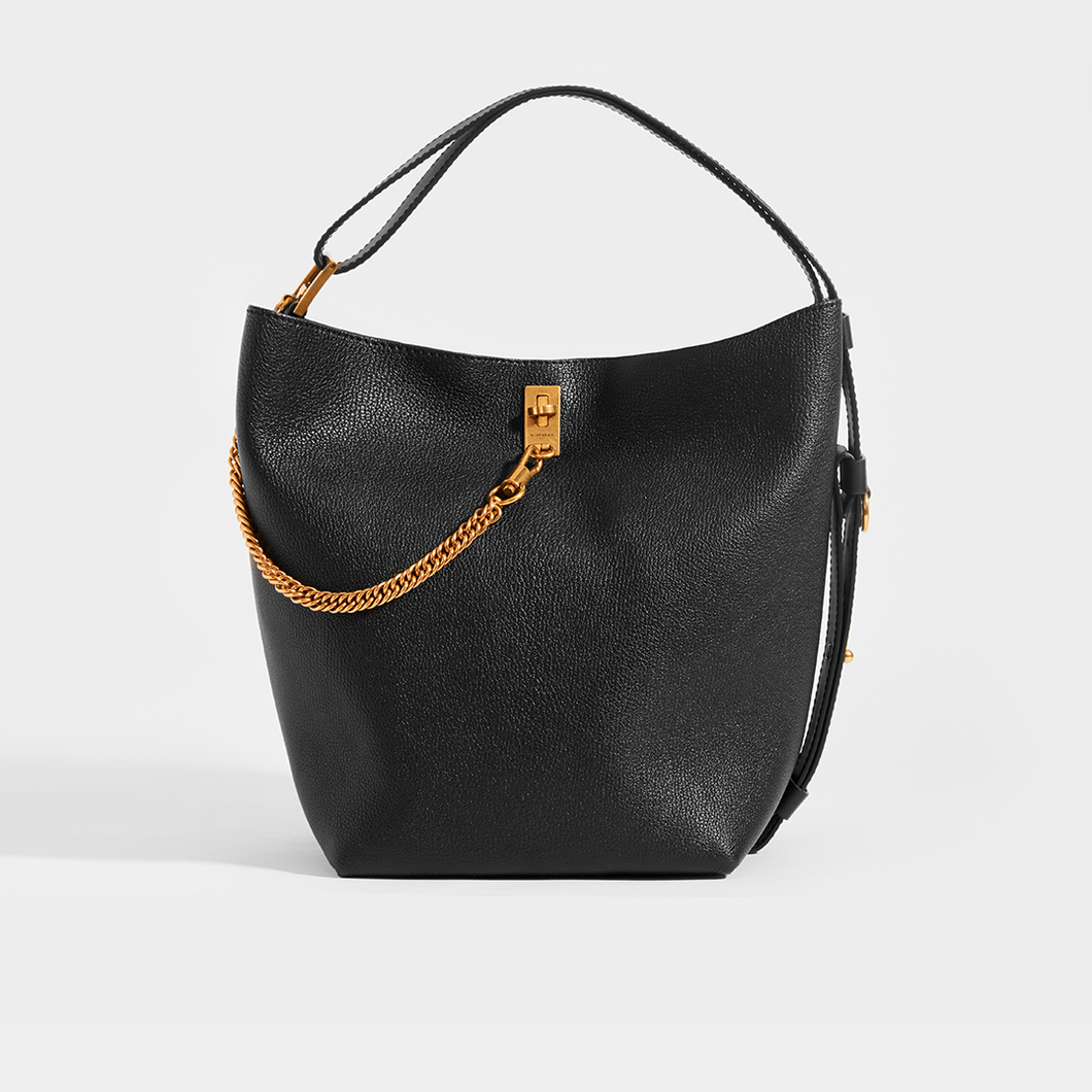 GIVENCHY GV Bucket Bag in Medium Grained Black Leather