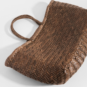 Top View of DRAGON DIFFUSION Triple Jump Large Woven-Leather Tote in Light Brown