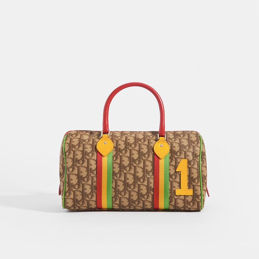 DIOR Vintage Rasta Boston Diorissimo Canvas Bag