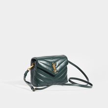 Load image into Gallery viewer, Side view of SAINT LAURENT Toy LouLou Shoulder Bag in Dark Green with Leather Strap