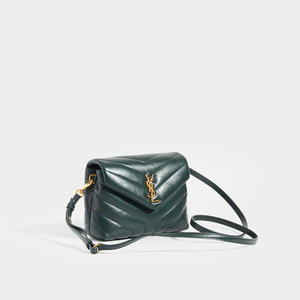 Side view of SAINT LAURENT Toy LouLou Shoulder Bag in Dark Green with Leather Strap