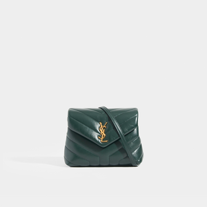 SAINT LAURENT Toy LouLou Shoulder Bag in Dark Green