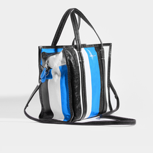Load image into Gallery viewer, BALENCIAGA Bazar M Striped Shoulder Bag in Blue Leather