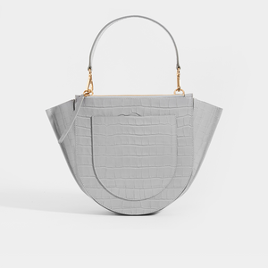 WANDLER Hortensia Medium Top Handle in Grey Embossed Croc