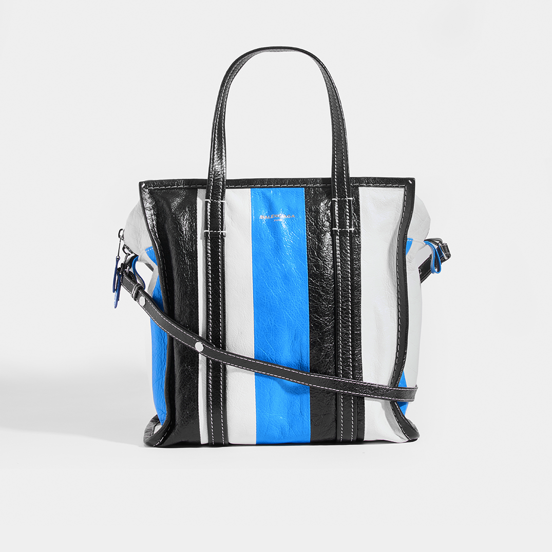 BALENCIAGA Bazar M Striped Shoulder Bag in Blue Leather