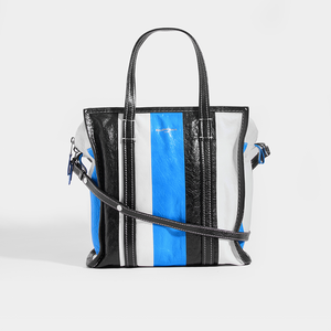BALENCIAGA Bazar M Striped Shoulder Bag