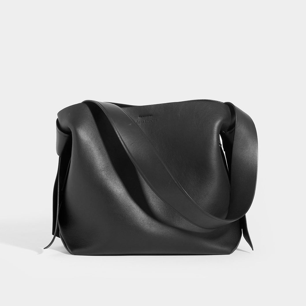 ACNE Musubi Midi Knotted Leather Shoulder Bag in Black Leather